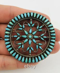 Old Pawn 1940's ZUNI Sterling Silver TURQUOISE Petit Point PIN BROOCH 2.25