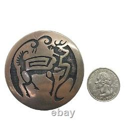 Old Pawn Beautiful Hopi Handmade Sterling Silver Deer Overlay Pendant/Pin