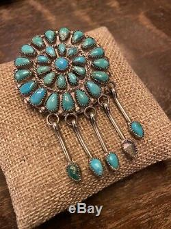 Old Pawn Dead Pawn Vintage Zuni Turquoise Pendant/Pin Signed SP Zuni
