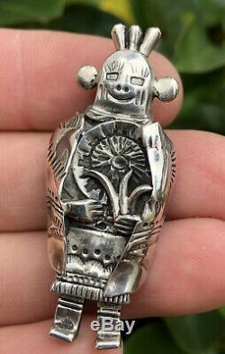 Old Pawn Hopi Navajo Native American Sterling Silver Kachina Mudhead Pin Brooch