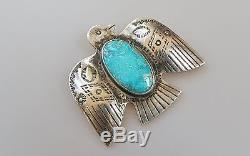 Old Pawn Mid Century Sterling Silver Thunderbird Pin Fred Harvey era