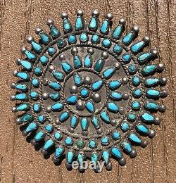 Old Pawn Native American Zuni Sterling Silver Turquoise Petit Point Pin Brooch