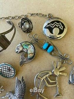 Old Pawn Native Sterling Turquoise Necklace Yazzie Owl Bear Pin Ring Cuff Lot