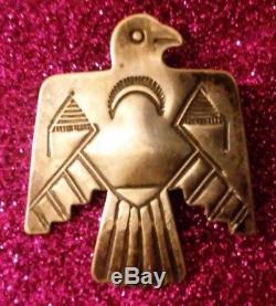 Old Pawn Navajo Coin Silver IH Indian Handmade Thunderbird Pin Brooch