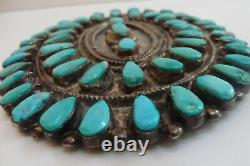 Old Pawn Navajo Indian Large Silver And Petit Point Turquoise Pin Brooch