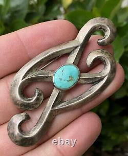 Old Pawn Navajo Native American Sterling Silver SandCast Turquoise Pin Pendant