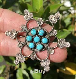 Old Pawn Navajo Native American Sterling Silver & Turquoise Snowflake Pin Brooch