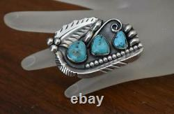 Old Pawn Navajo R. Platero Signed 3-stone Turquoise Sterling Silver Pin Brooch