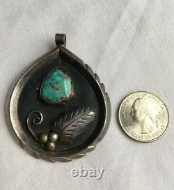 Old Pawn Navajo R. Platero Sterling Silver Turquoise Pendant Brooch Pin 24Grams