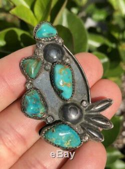 Old Pawn Navajo Sterling Silver & Green Royston Turquoise Pin Brooch Pendant