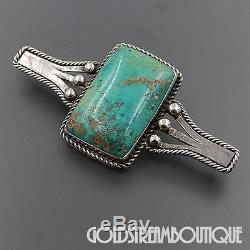 Old Pawn Navajo Sterling Silver Green Turquoise Fred Harvey Era Bar Pin Brooch