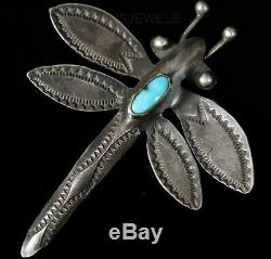 Old Pawn Navajo Sterling Silver Handmade Turquoise DRAGONFLY Pin Brooch