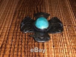 Old Pawn Navajo Sterling Silver Thunderbird Turquoise Fred Harvey Era Pin Brooch