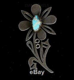 Old Pawn Santo Domingo KEWA Vidal Aragon Turquoise Sterling FLOWER Pin Brooch