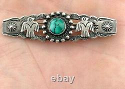 Old Pawn Sterling Silver Navajo Turquoise Thunderbird Fred Harvey Era Brooch Pin