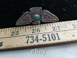 Old Pawn Vintage Navajo Fred Harvey Sterling Turquoise Thunderbird Pin 2.25