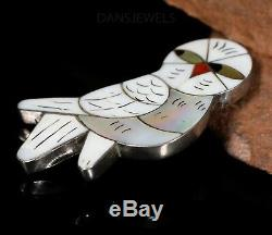 Old Pawn Vintage Rare Sterling & Carved Mother of Pearl ZUNI OWL Pin Pendant
