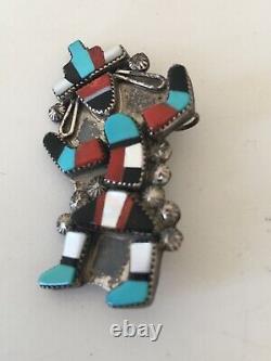 Old Pawn Vintage Sterling Silver Zuni Kachina Rainbow Dancer Pin/pendant