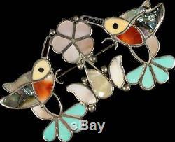 Old Pawn Vintage ZUNI or NAVAJO Sterling Coral Onyx Inlay Hummmingbird Pendant