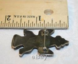 Old Pawn Zuni 925 Sterling Silver Stone Knifewing Kachina Brooch Pin Signed Rex