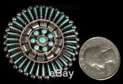 Old Pawn Zuni Circle Wreath Needlepoint Snake Eye Turquoise Sterling Pin Pendant