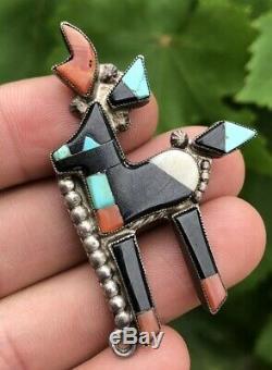 Old Pawn Zuni Horned Antelope Deer Kachina Raised Mosaic Pin Brooch #1