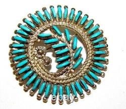 Old Pawn Zuni Sterling Petit Point Turquoise Brooch Pin Pendant