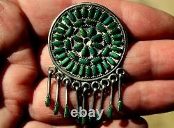 Old Pawn Zuni Sterling Silver Petit-Point Turquoise Stones Dangling Pin/Pendant