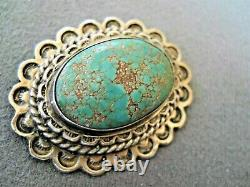 Old Southwestern Native American Spiderweb Green Turquoise Silver Pin Brooch