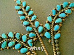 Old Southwestern Native American Turquoise Cluster Sterling Silver Pin Brooch 3