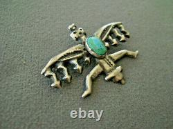 Old Southwestern Native American Turquoise Sterling Silver Kachina Pin Brooch