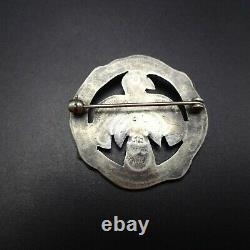 Old Style NAVAJO Sterling Silver TURQUOISE THUNDERBIRD PIN/BROOCH Round