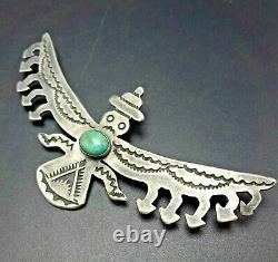 Old Style ZUNI Hand-Stamped Sterling Silver TURQUOISE KNIFEWING PIN/BROOCH
