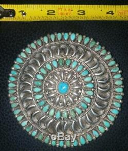 Old Turquoise Navajo F. M. B NATIVE AMERICAN STERLING SILVER Brooch Pin 91.7g