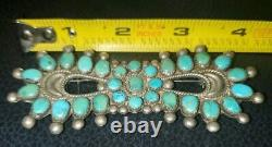 Old Turquoise Navajo L. R. NATIVE AMERICAN STERLING SILVER Brooch Pin Bow 29.8g