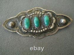 Old Vibrant Native American Green Turquoise Sterling Silver Repousse Stamped Pin