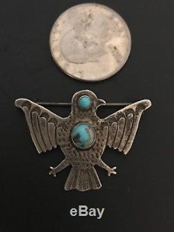 Old Vintage Navajo Pawn Sterling Torquoise Thunderbird Pin