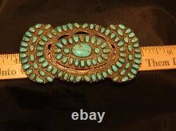 Old Vintage Navajo Zuni Signed Turquoise Silver Petit Point Pendant Brooch Pin