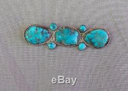 Old Vintage Silver 7 Stone Turquoise Native American Manta Pin Brooch