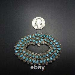 Old ZUNI Sterling Silver TURQUOISE Petit Point MANTA PIN Micro Serrated Bezel