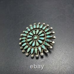 Old ZUNI Sterling Silver TURQUOISE Petit Point PIN/BROOCH Micro Serrated Bezel