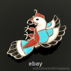 Old Zuni Handmade Sterling Silver & Mosaic Inlay Bird Brooch Pin