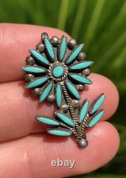 Old Zuni Sterling Silver Needle Point Turquoise Daisy Flower Brooch Pin Pendant