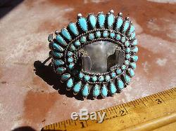 Old genuine Pawn Navajo Handmade Sterling Silver Turquoise watch bracelet. AS IS