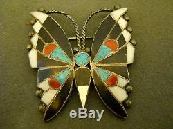 Old multi stone sterling silver butterfly pin 2 1/8 x 2