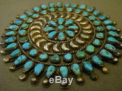 Old turquoise sterling silver cluster pin 3