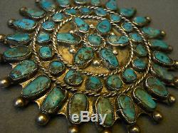 Old turquoise sterling silver cluster pin pendant 3 3/4