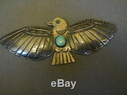 Old turquoise sterling silver thunderbird pin 3 1/2 x 1 1/2