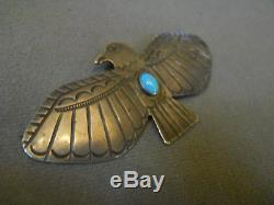 Old turquoise sterling silver thunderbird pin 3 x 1 3/8