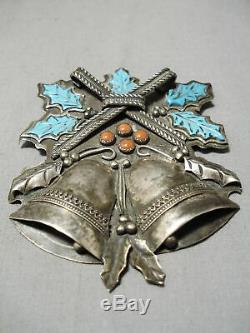 One Of Best Moving Bell Vintage Navajo Turquoise Coral Sterling Silver Pin